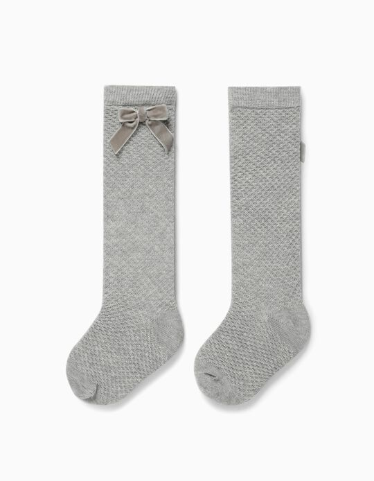 Knee High Socks with Bow for Girls, Grey