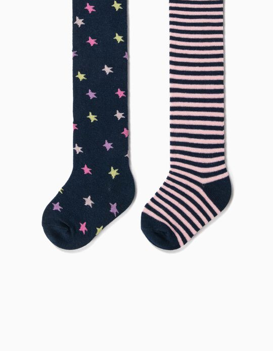 2 Pairs of Fine Knit Tights for Baby Girls, 'Stars & Stripes', Dark Blue