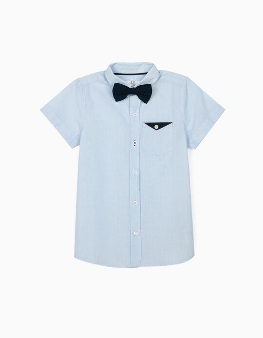 Camisa com Laço para Menino, Azul