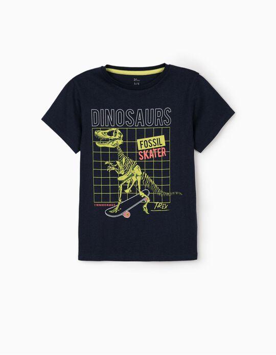 T-shirt garçon 'Dinosaur', bleu foncé