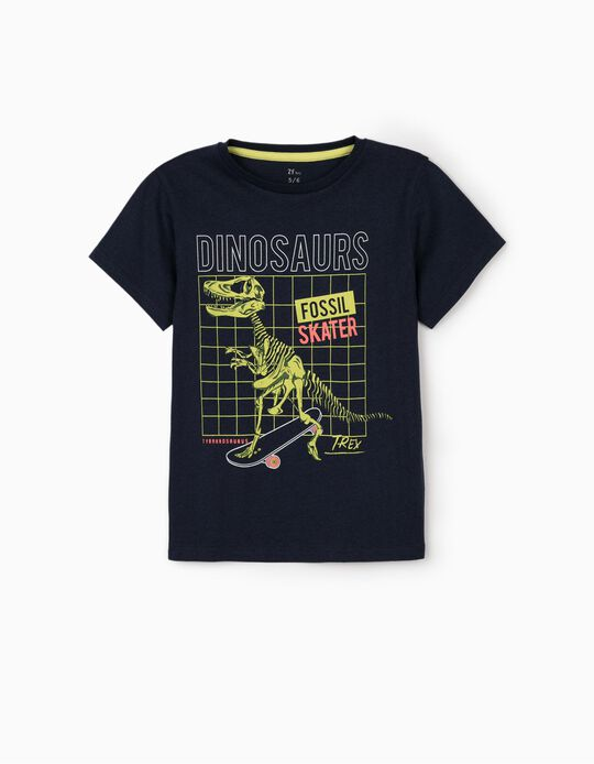T-shirt para Menino 'Dinosaur', Azul Escuro