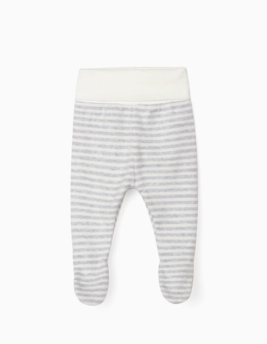 Footed Trousers for Newborn Baby Boys, 'WH', Grey/White