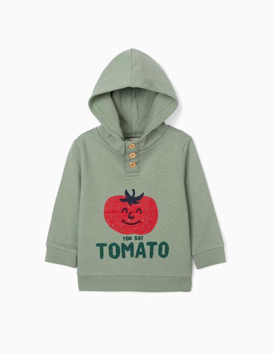 Sweatshirt com Capuz para Bebé Menino 'Tomato', Verde