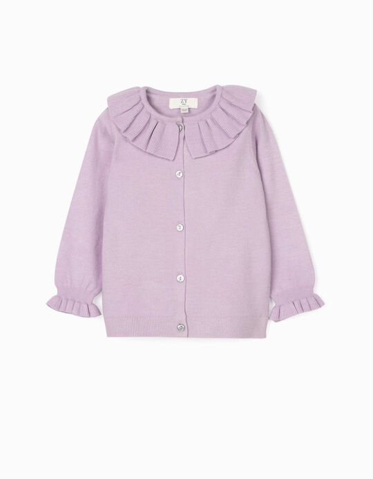 Cardigan with Frills for Baby Girls, Purple