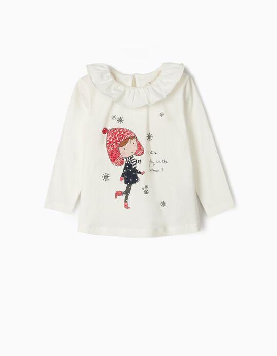 T-shirt Manga Comprida para Bebé Menina 'Snow', Branco