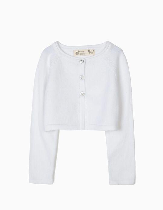Casaco Bolero de Malha para Bebé Menina, Branco