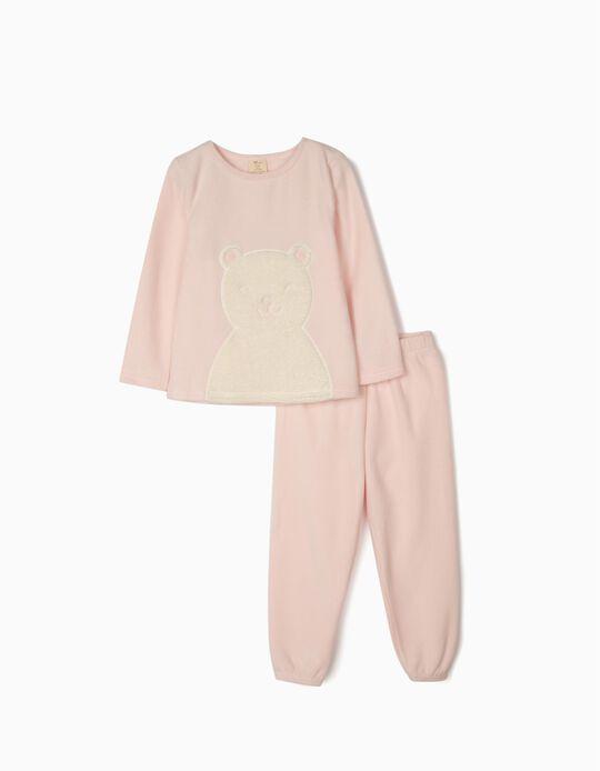 Pijama Polar para Menina 'White Bear', Rosa