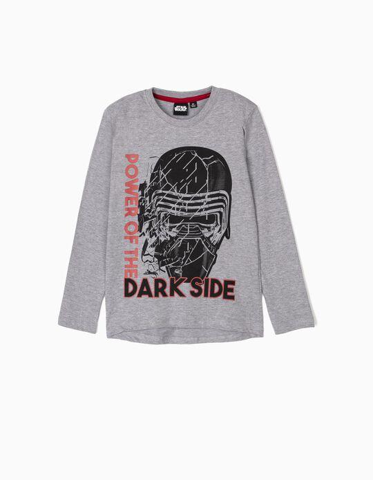 T-shirt Manga Comprida para Menino 'Dark Side', Cinza
