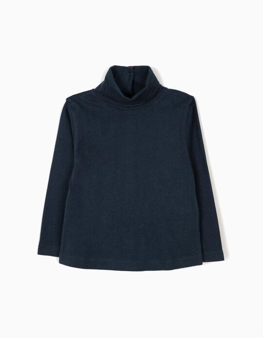 Camiseta de Manga Larga de Cuello Alto Azul Oscura