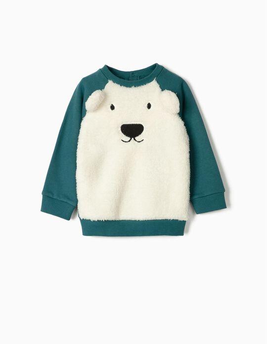 Combined Sweatshirt for Baby Boys 'Cute Bear', White/Blue