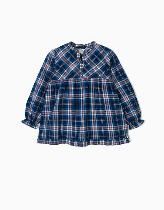 Blusa para Menina Xadrez, Azul