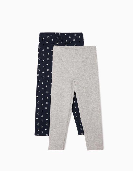 2 Leggings para Menina 'Stars', Azul Escuro e Cinza