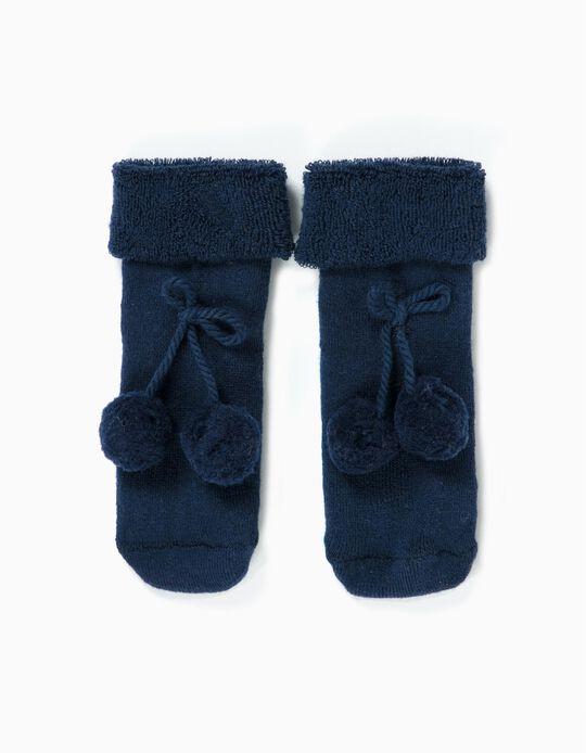 Calcetines Terry para Bebé Niña con Pompones, Azul Oscuro