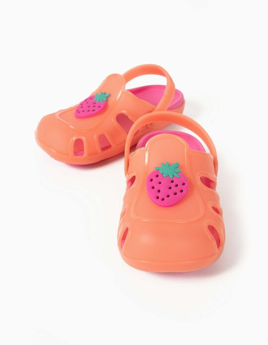 Clog Sandals for Girls, 'Strawberry', Orange/Pink