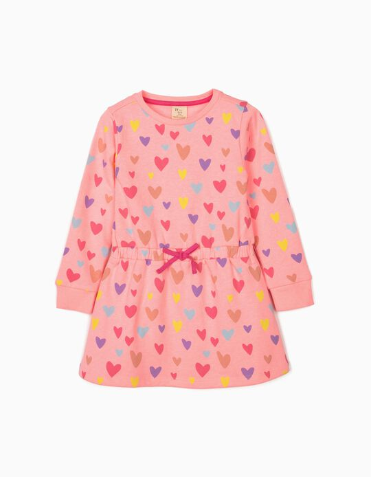 Long Sleeve Dress for Girls 'Hearts', Pink