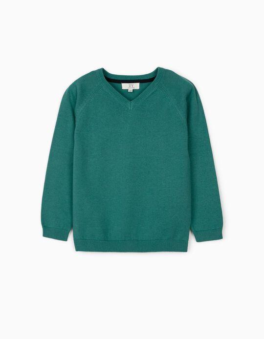 Jersey de Punto para Niño, Verde Azulado