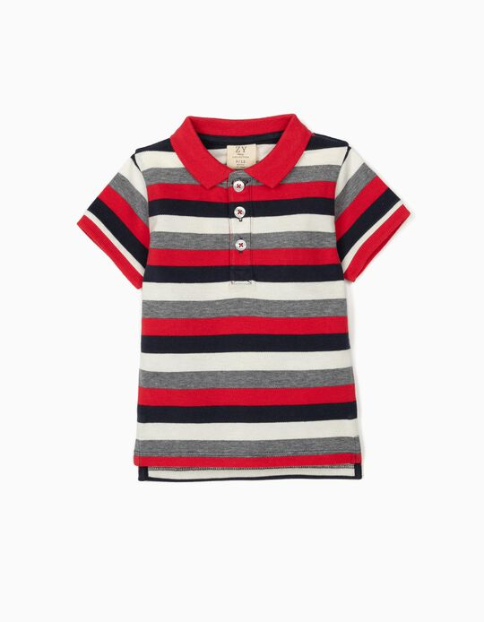 Striped Polo Shirt for Baby Boys, Blue/White/Red