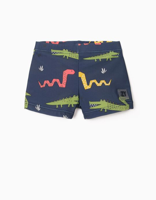 Swim Shorts with UV 80 Protection for Baby Boys, 'Animals', Blue