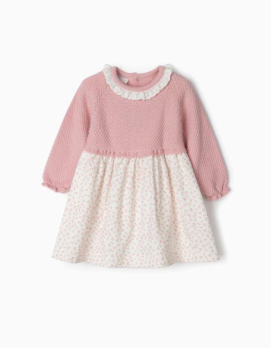 Vestido Combinado para Recém-Nascida 'Flores', Rosa/Branco