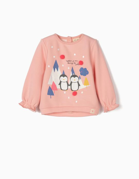 Sweatshirt with Pompoms for Baby Girls 'Cute Penguins', Pink