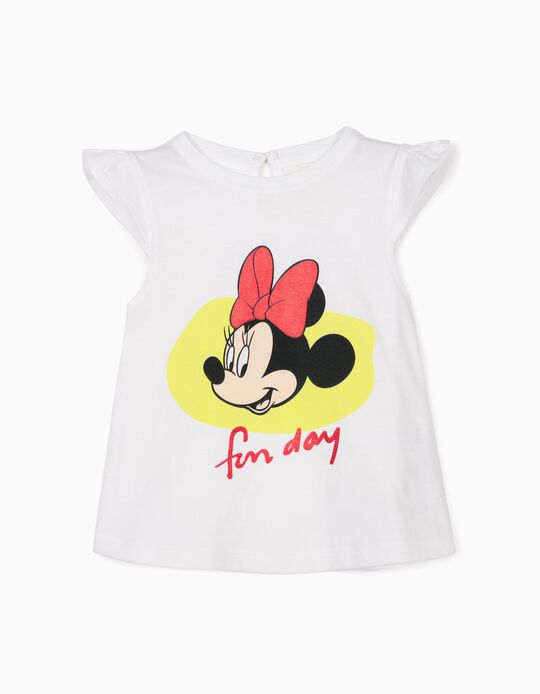 T-shirt bébé fille 'Minnie Fun Day', blanc