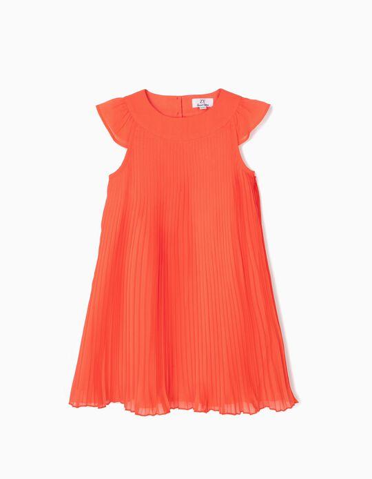 Vestido Plissado para Menina, Coral