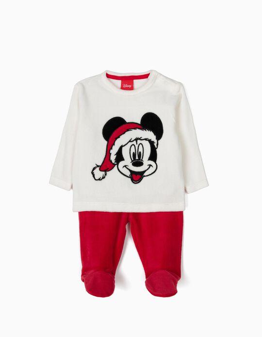 Pijama Veludo Manga Comprida e Calças Mickey Christmas