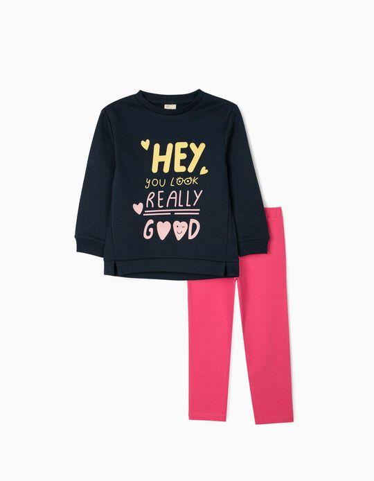 Sweatshirt + Leggings for Girls 'Hey', Blue/Pink