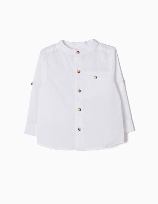 Camisa con Cuello Mao Blanca