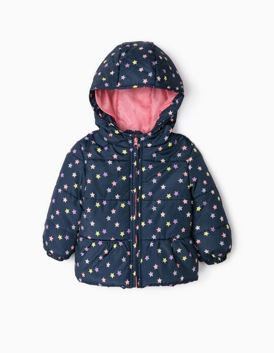 Padded Jacket for Baby Girls 'Stars', Dark Blue