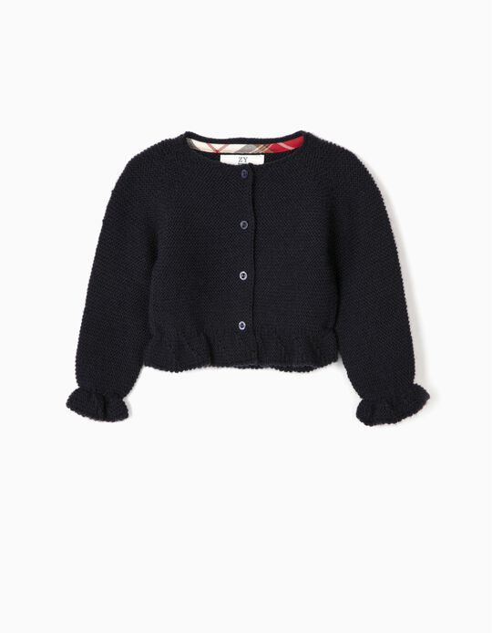Short Knit Cardigan for Newborn Girls, Dark Blue