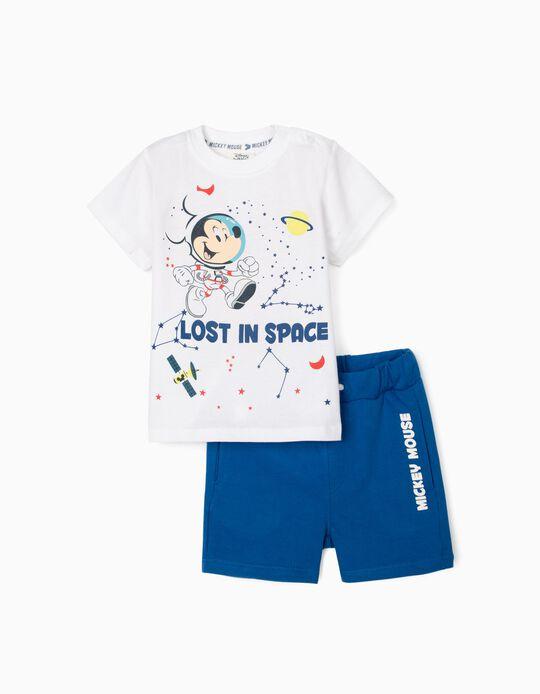 Camiseta + Short para Bebé Niño 'Mickey Lost in Space', Blanco y Azul