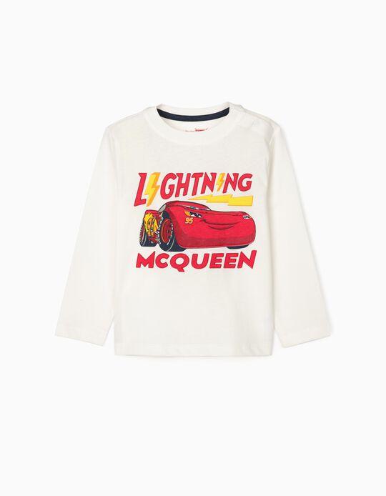 T-Shirt de Manga Comprida para Bebé Menino 'Lightning McQueen', Branco