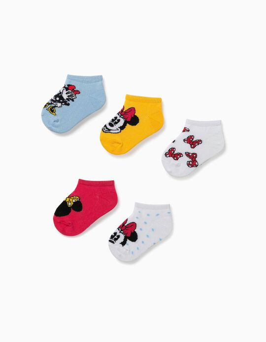 5 Pairs of Ankle Socks for Baby Girls, 'Minnie Mouse', Multicolour