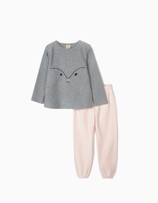 Pijama Polar para Menina, Cinza/Rosa
