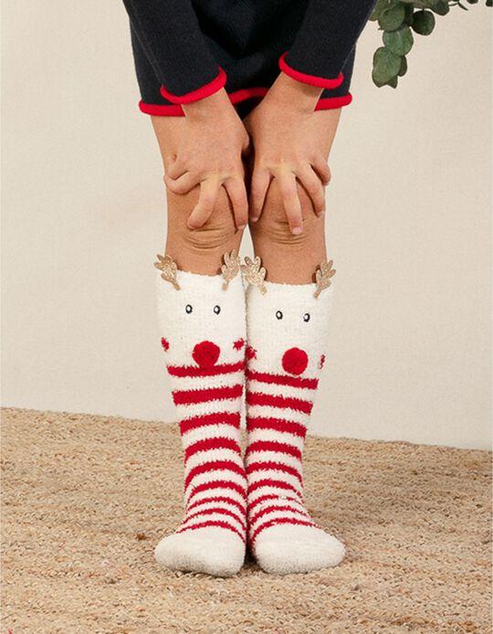 Meias Felpudas para Criança 'Christmas Reindeer', Branco/Vermelho