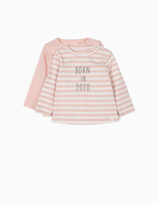 2 T-shirts Manga Comprida para Recém-Nascida 'Born in 2020', Rosa