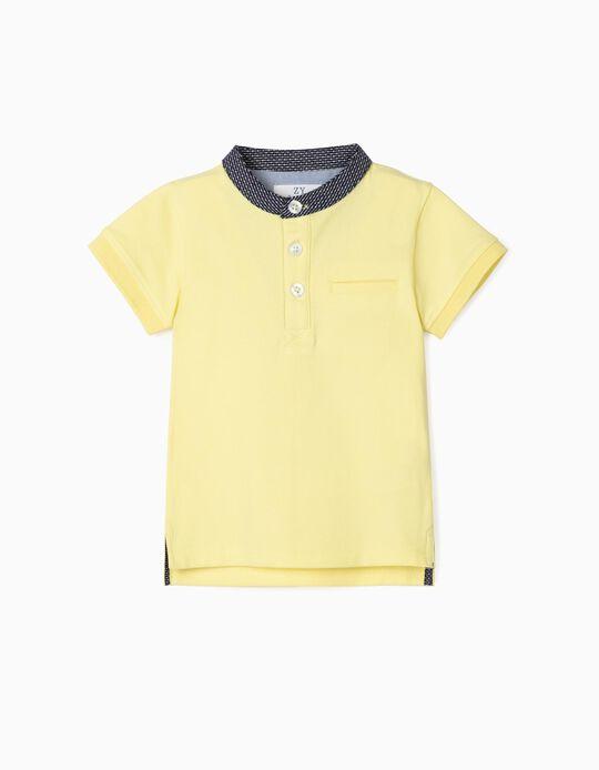 Polo Shirt with Mandarin Collar for Baby Boys, Yellow