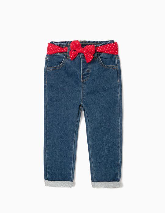 Pantalón con Cinta para Bebé Niña 'Comfort Denim', Azul