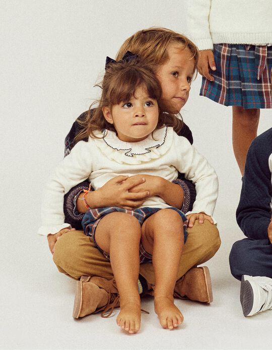 Camisola de Malha com Folhos para Bebé Menina, Branco