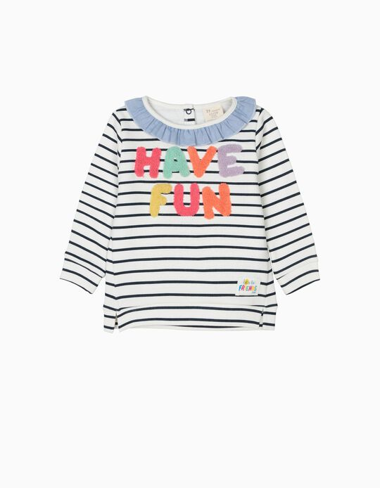 Sweatshirt para Bebé Menina 'Have Fun', Branco e Riscas