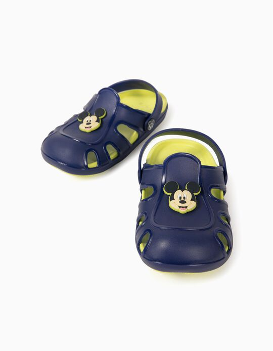 Clog Sandals for Boys, 'Mickey Mouse', Blue/Lime Yellow