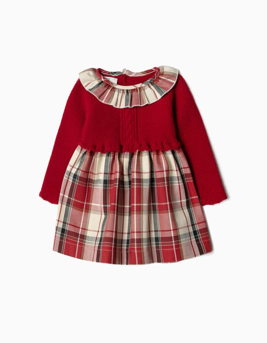 Dual Fabric Dress for Newborn Baby Girls, Red/Chequered