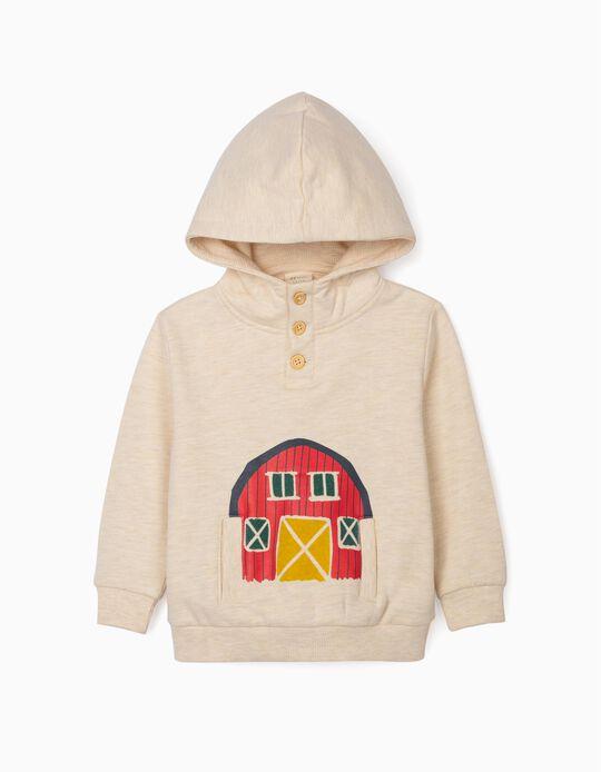 Sweatshirt com Capuz para Bebé Menino 'Barn House', Bege