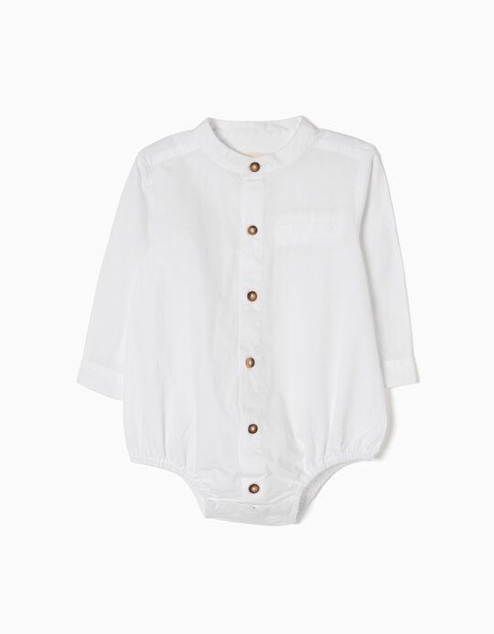 Body-Camisa con Botones a Contraste