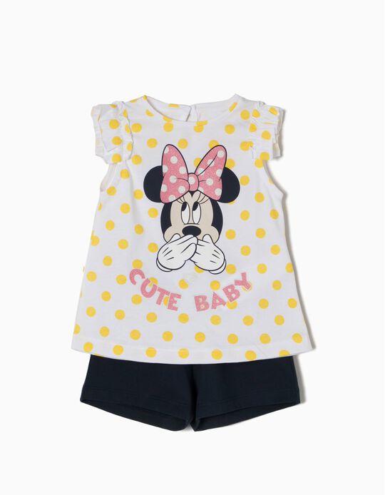 T-shirt e Calções para Bebé Menina 'Cute Minnie', Branco e Azul