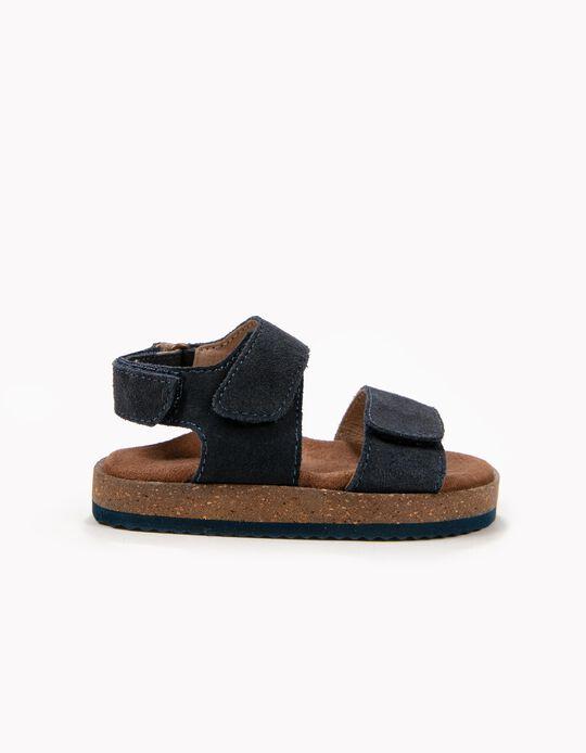 Sandalias de Ante para Bebé Niño, Azul Oscuro
