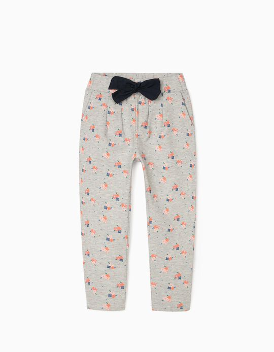 Joggers for Girls 'Flowers', Grey