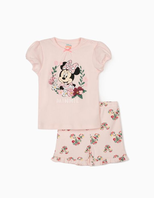 Short Sleeve Pyjamas for Baby Girls, 'Minnie Mouse', Pink