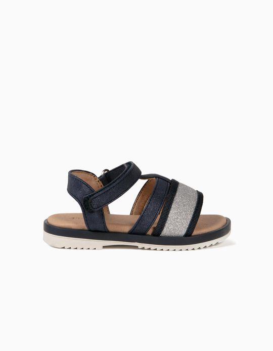 Sandales brillantes bébé fille, bleu foncé/argenté